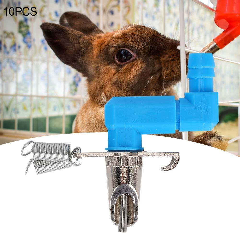 Camidy 10PCS Rabbit Water Feeder,Z Shape Three Way Steel Ball Rabbit Drinking Fountain Pet Water Feeding Nipple Drinking Supplies