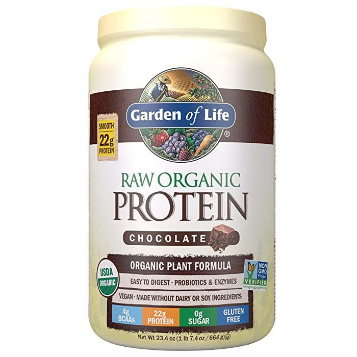 Garden of Life Raw Organic Protein Chocolate Powder, 20 Servings, Certified Vegan, Gluten Free, Organic, Non-GMO, Plant Based Sugar Free Protein Shake with Probiotics & Enzymes, 4g BCAAs, 22g Protein
