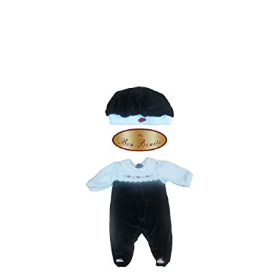 Bon Bonito Unisex Baby Velour Cotton Blend Layette Footie with Matching Hat