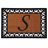 "Home & More 180041925S Inserted Doormat, 19"" X 25"" x 0.60"", Monogrammed Letter S, Natural/Black"