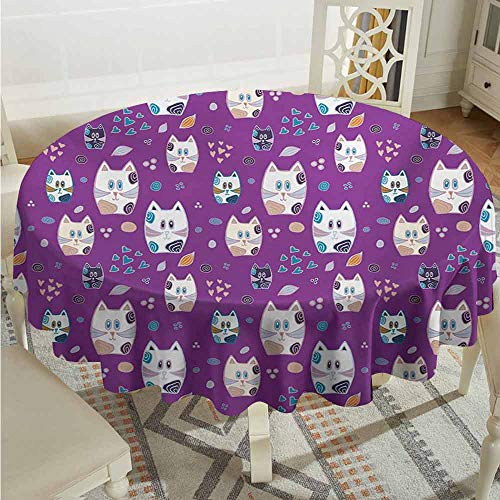 XXANS Round Solid Polyester Tablecloth,Cat,Doodle Cartoon Design Lovely Baby Kittens Pattern Ornate Hearts Swirls Circles Artwork,Table Cover for Kitchen Dinning Tabletop Decoratio,43 INCH,Multicolor