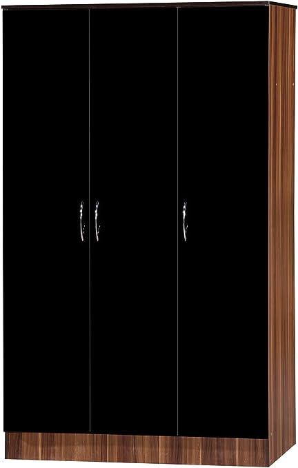Alpha Triple Armario de Puertas, Madera, Color Negro y Nogal: Amazon.es: Hogar