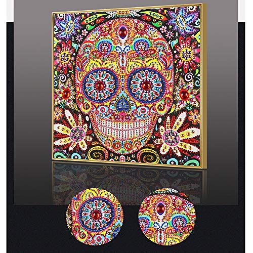5D DIY Special Shaped Diamond Painting Kit, 11.8X 11.8 Inch Crystal Rhinestone Diamond Embroidery Paintings Pictures Arts Craft for Home Wall Decor(Skull Flower)