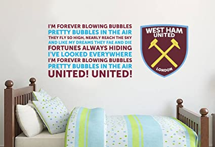 79162d4aaf7a Official West Ham United Blowing Bubbles Song   Crest Wall Sticker - WHU  Decal Football Vinyl