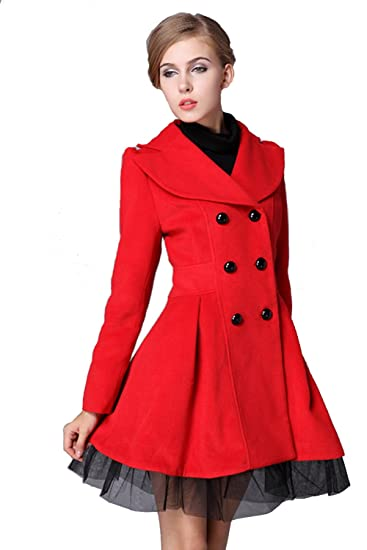 e27fd77c8e9 Amazon.com  L.V.Y Women Trench Coat Jacket Parka Slim Fit Peacoat  Clothing