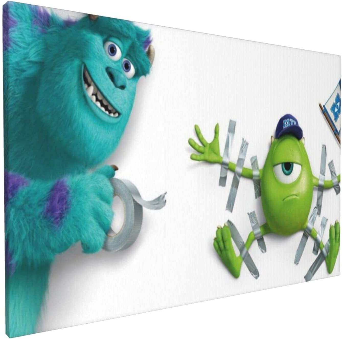 GLBlife Monsters Inc Paintings 3D Printed Posters Canvas Wall Art Bedroom for Office Decor Pictures Painting 12x18in
