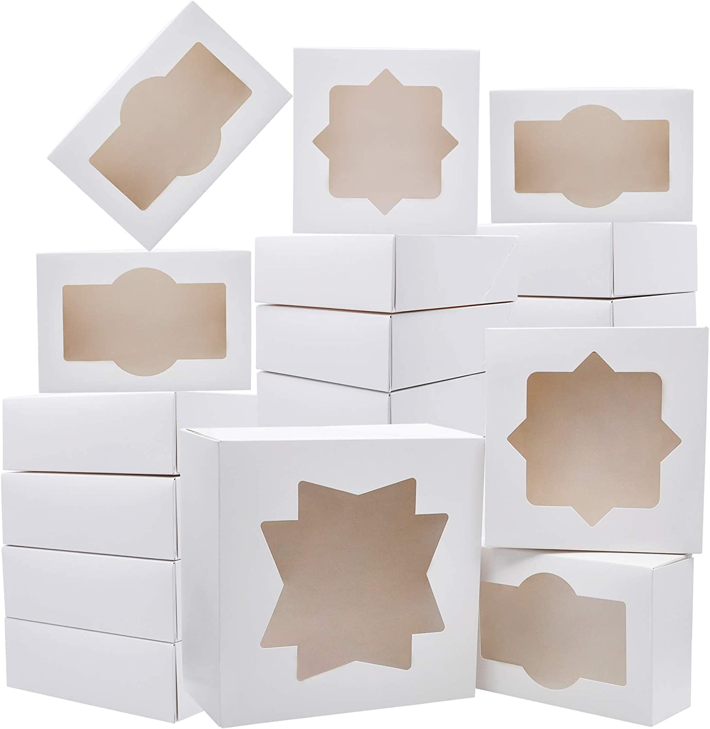 20 PCs 3-Sizes Cardboard Bakery Cookie Boxes Set with Window Auto-Popup for Christmas Cupcakes, Cookies, Brownies, Donuts, Truffles Gift-Giving.
