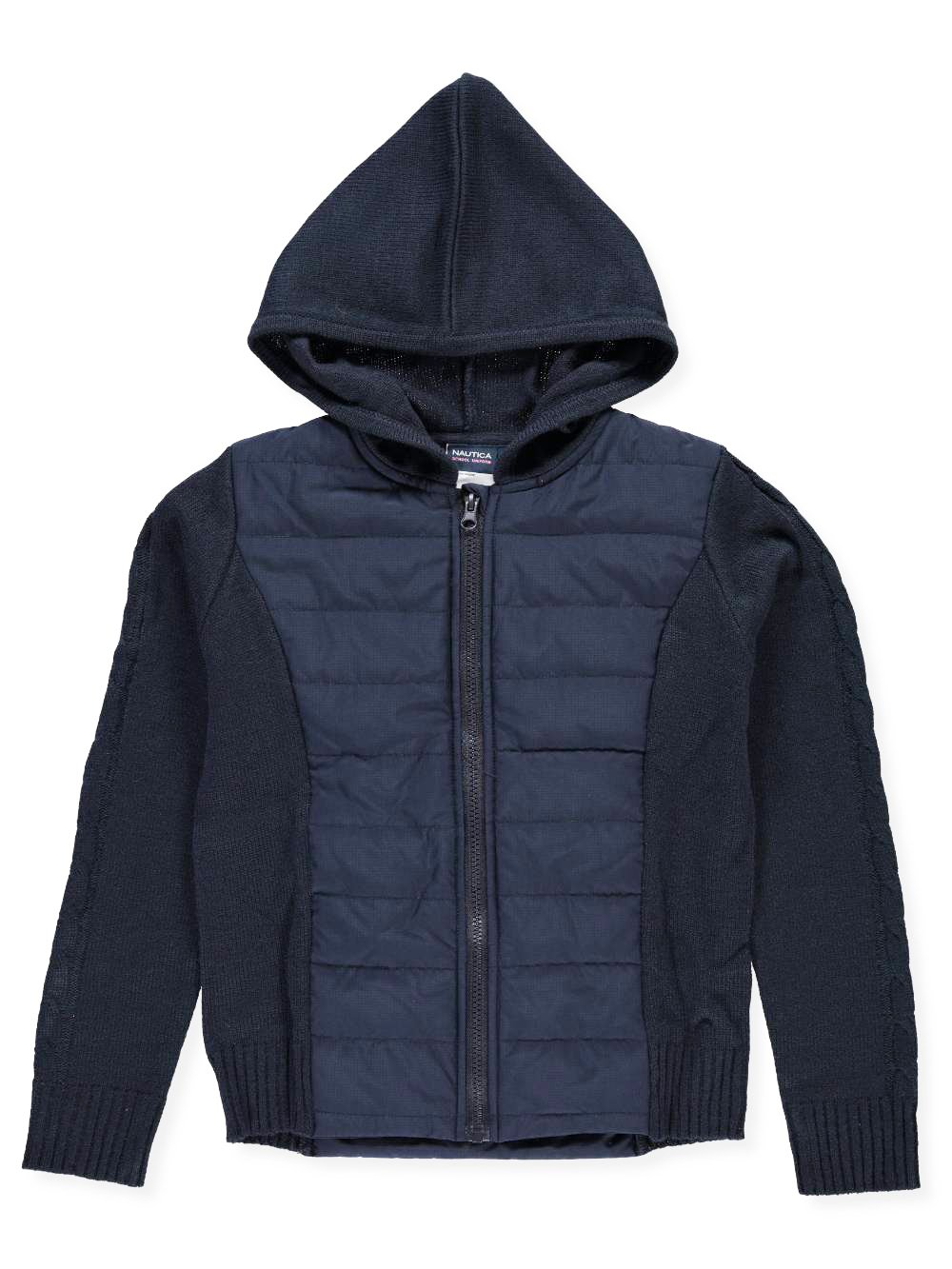 Nautica Big Girls' Quilted Hooded Jacket - Navy, 16