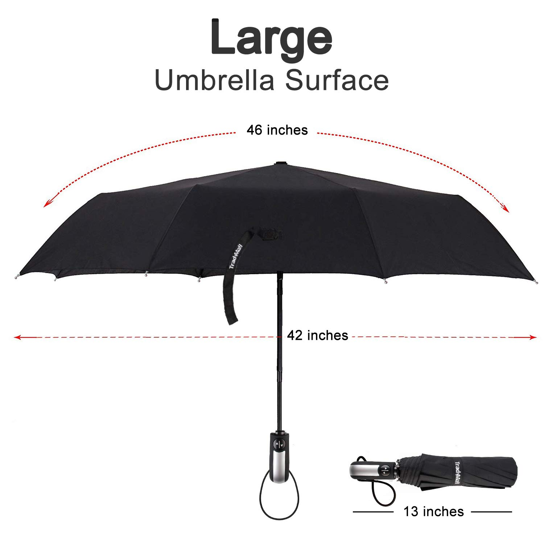 TradMall Travel Umbrella with 10 Reinforced Fiberglass Ribs 42'' Large Canopy Ergonomic Handle Auto Open & Close, Black by TradMall (Image #2)