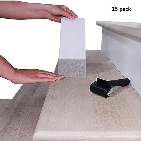30x 6 cintas antideslizantes para peldaños de escalera - tiras interiores antideslizantes transparentes cinta autoadhesiva con rodillo de presión para pisos o escaleras de bañeras (paquete de 15): Amazon.es: Hogar