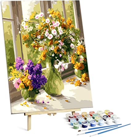 DIY Paint By Number Kits Flowers Oil 16x20 With Framed Canvas wood frame adult