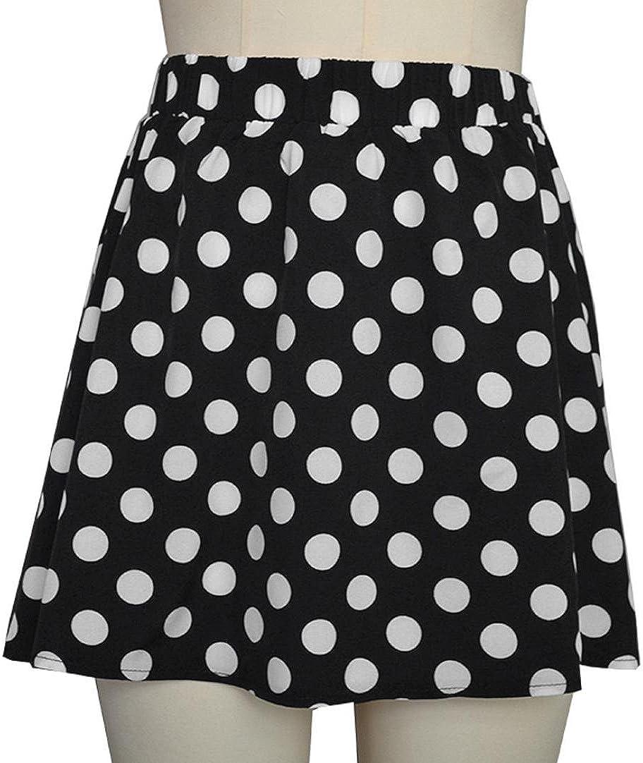 Holywin Fashion Women Party Polka dot Printed Cocktail Skirt High Waist Mini Skirt