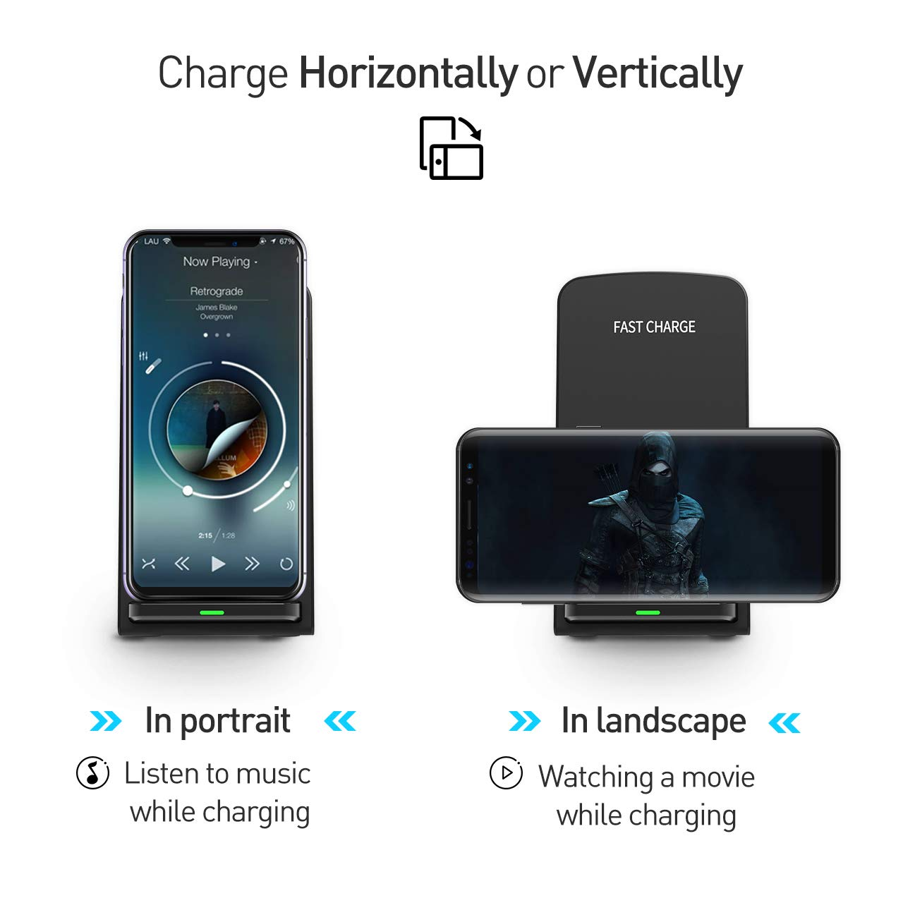 Seneo (Upgraded) Wireless Charger, Qi Certified Fast Wireless Charger Stand with QC 3.0 Adapter for Galaxy S9/S9+ Note 8/5 S8/S8+ S7/S7 Edge S6 Edge+, Standard Qi Charger for iPhoneX/8/8 Plus by Seneo (Image #5)