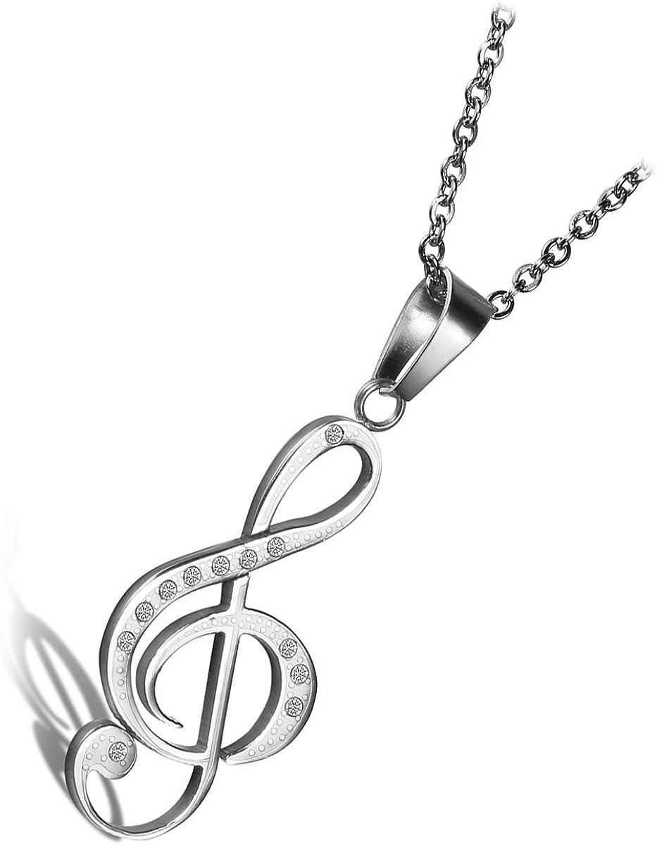 Cupimatch Collar Mujer con Símbolo Musical Acero Inoxidable HipoalergénicoRegalo para Amor Día de la Madre Regalo