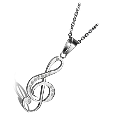 0441e9ca366e cupimatch nueva moda plata tono acero inoxidable Rhinestone música Nota Colgante  Collar con cadena de 18
