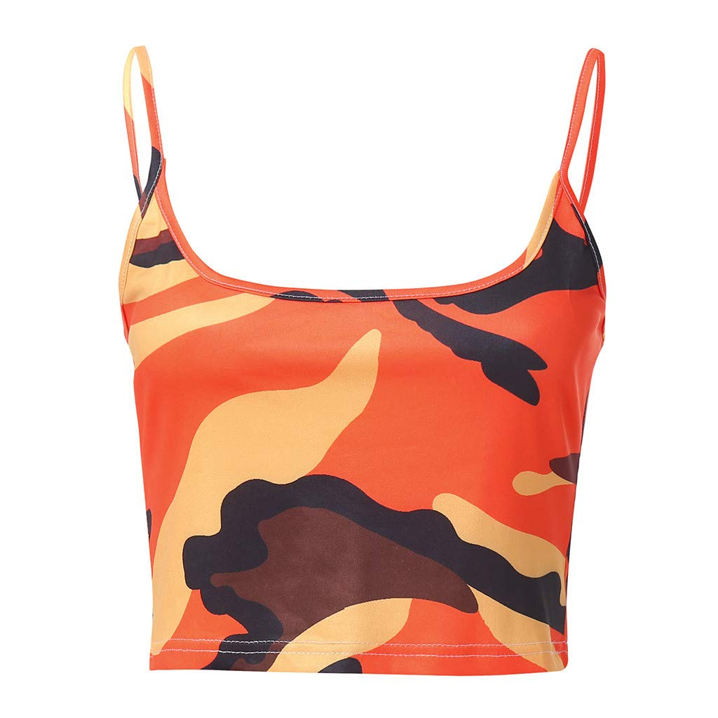 Uscharm Women Camouflage Sleeveless Tanks Strap Crop Top Bustier Yoga Sleeveless Blouse V-Neck Camis (Orange, XL) by Uscharm (Image #2)