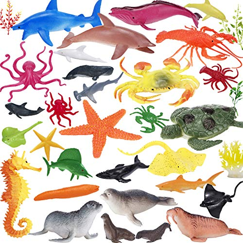 Ocean Animals Figures, Plastic Sea Animal Creatures Figurines Toys, Realistic Large Deep Sea Life Shower Bath Pool Toys Cupcake Topper Party Favor Gift for Child Toddler with Turtle Shark, 34 Piece ()