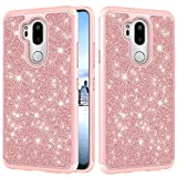 for LG G7/G7 ThinQ Glitter Case,QFFUN Bling Shiny Skin Soft Silicone Inner + Hard Plastic Back Hybrid Double Layer 2 in 1 Shell Shockproof Anti-scratch Mobile Phone Protective Cover for LG G7/G7 ThinQ Case with Screen Protector - Rose Gold