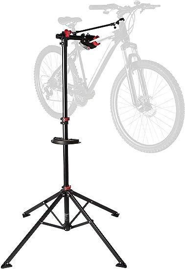 Ultrasport Caballete para bicicleta, caballete de montaje estable, para reparaciones en todos los modelos de bicicletas, tensor Quicklock, bandeja de herramientas magnética, máx. 30 kg
