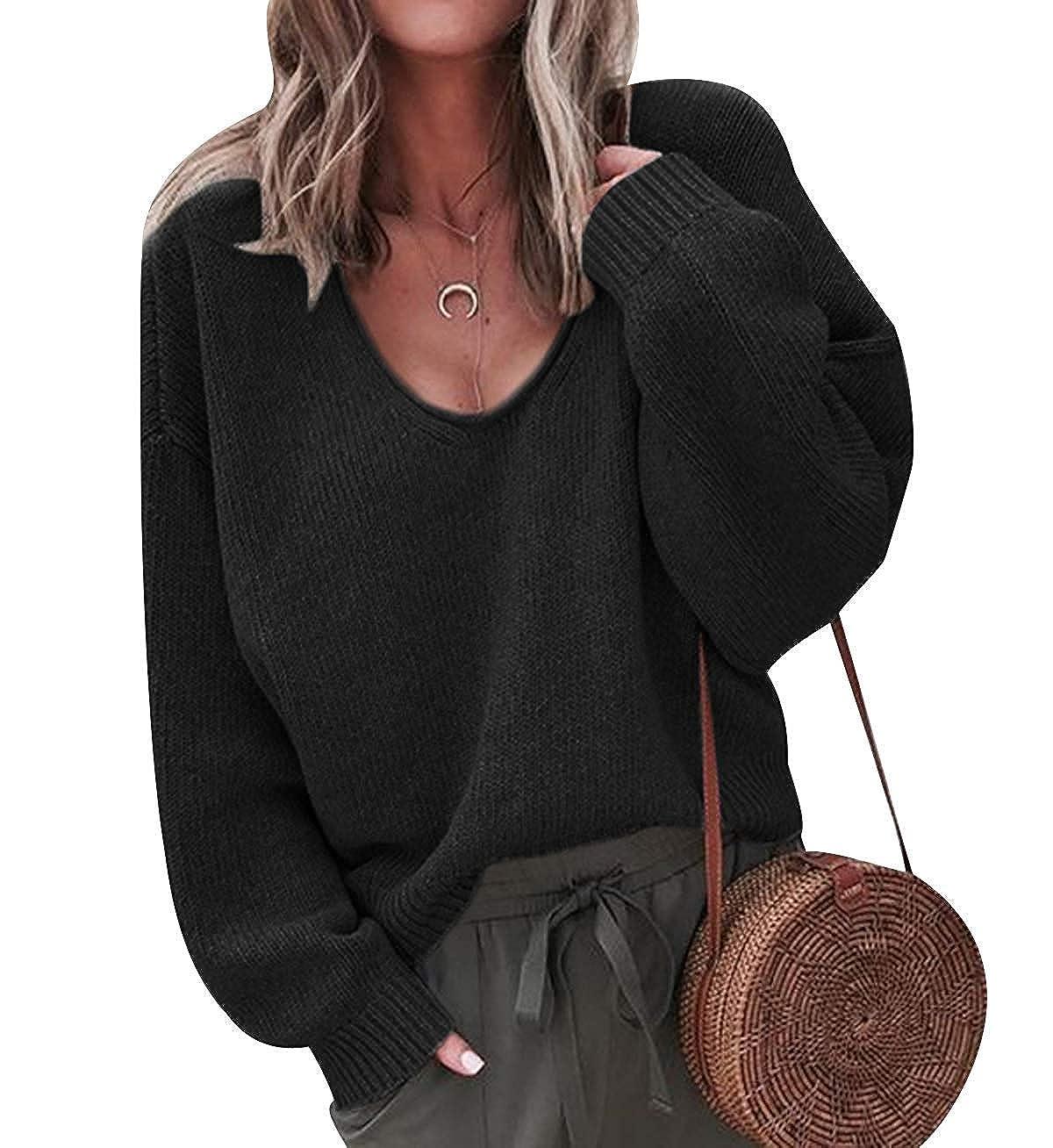 JUNMAONO Mujer Su/éter Texturizado con Trenzas Jers/éis Mujer Tejer Pullover Women Sweater Cuello Redondo Jersey de Punto de Escote V Oto/ño Tops Camisa Sobredimensionado Murcielago asim/étrica Camisa