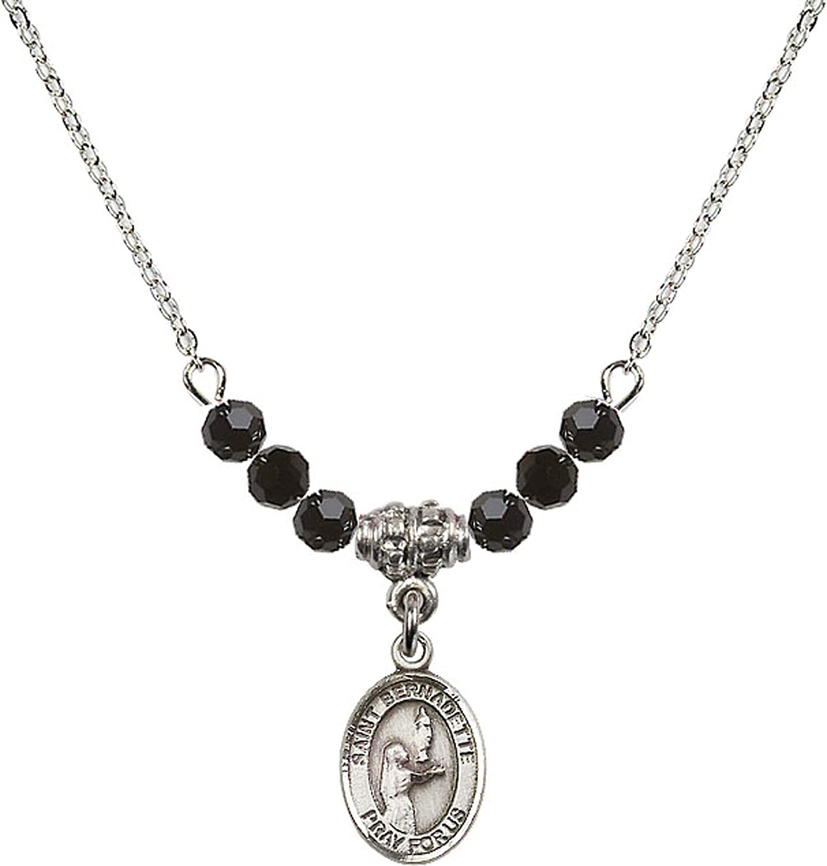 Bonyak Jewelry 18 Inch Rhodium Plated Necklace w// 4mm Jet Birth Month Stone Beads and Saint Bernadette Charm