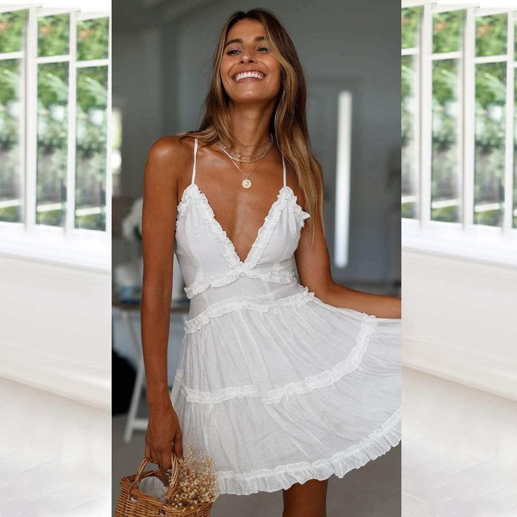LOPILY Fairy Essential Casual Party Dress Fashion Womens Summer Pure Sheath Slip Evening Dress Sundress Mini Dress Elegant Petticoat