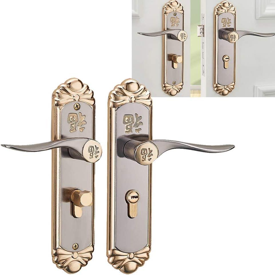 Comdy Cerradura de manija de aleación de Zinc silenciosa, Cerradura de Puerta con manija Interior, anticolisión para Puerta de Dormitorio, Oficina en casa, Puerta de Madera