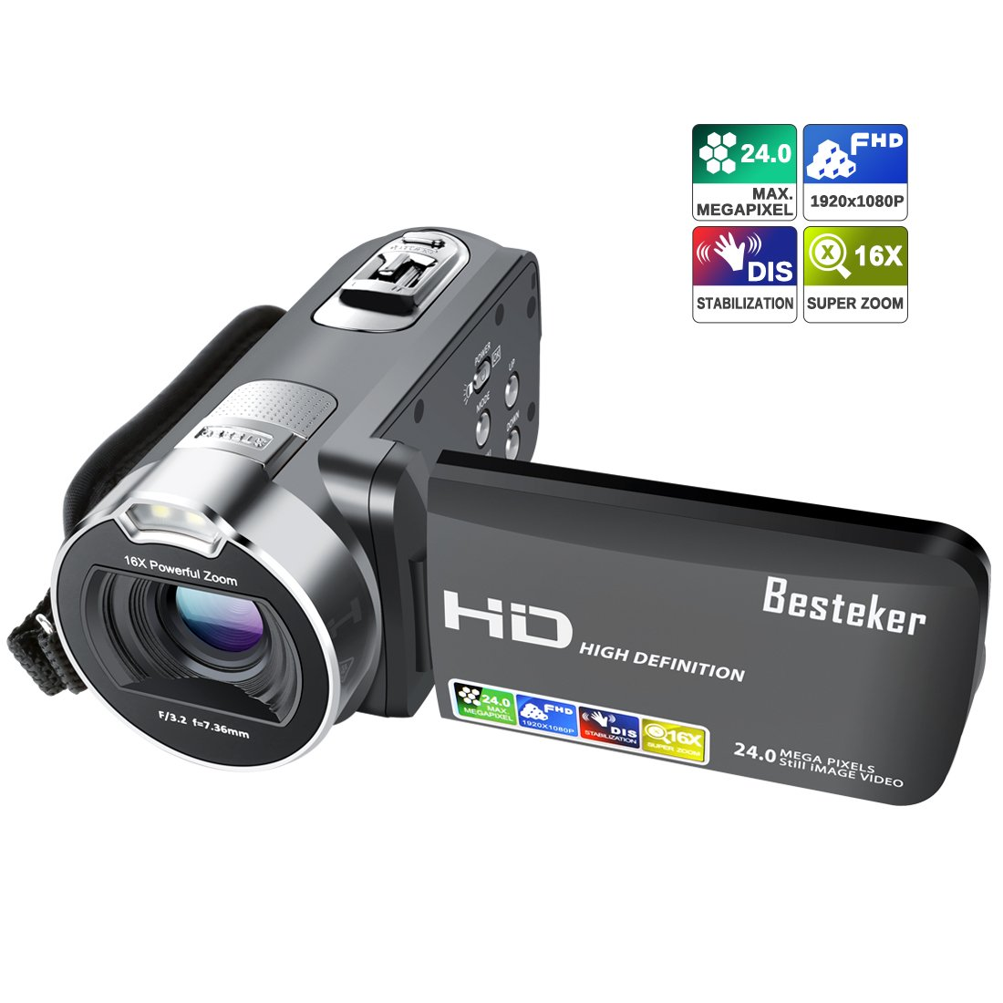 Camera Camcorder, Besteker 1080P Recorder 24M 16X HD Digital Zoom Video Camcorder 2.7 Inch LCD and 270 Degree Rotation Screen