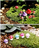 Generic 16Pcs Resin Crafts Decorations Miniature Dot Mushrooms Red Fairy Garden Gnome Terrarium Christmas Xmas Party Garden Decor Gift S (Color:Mixed Color S Size Only)