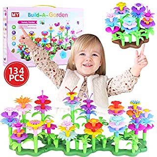 Seweltt Flower Garden Building Toys for 3 Years Old Girls, 134PCS STEM Toys DIY Build a Bouquet Sets Indoor and Outdoor Toys for toddles Preschool Activities Education Girls Toys