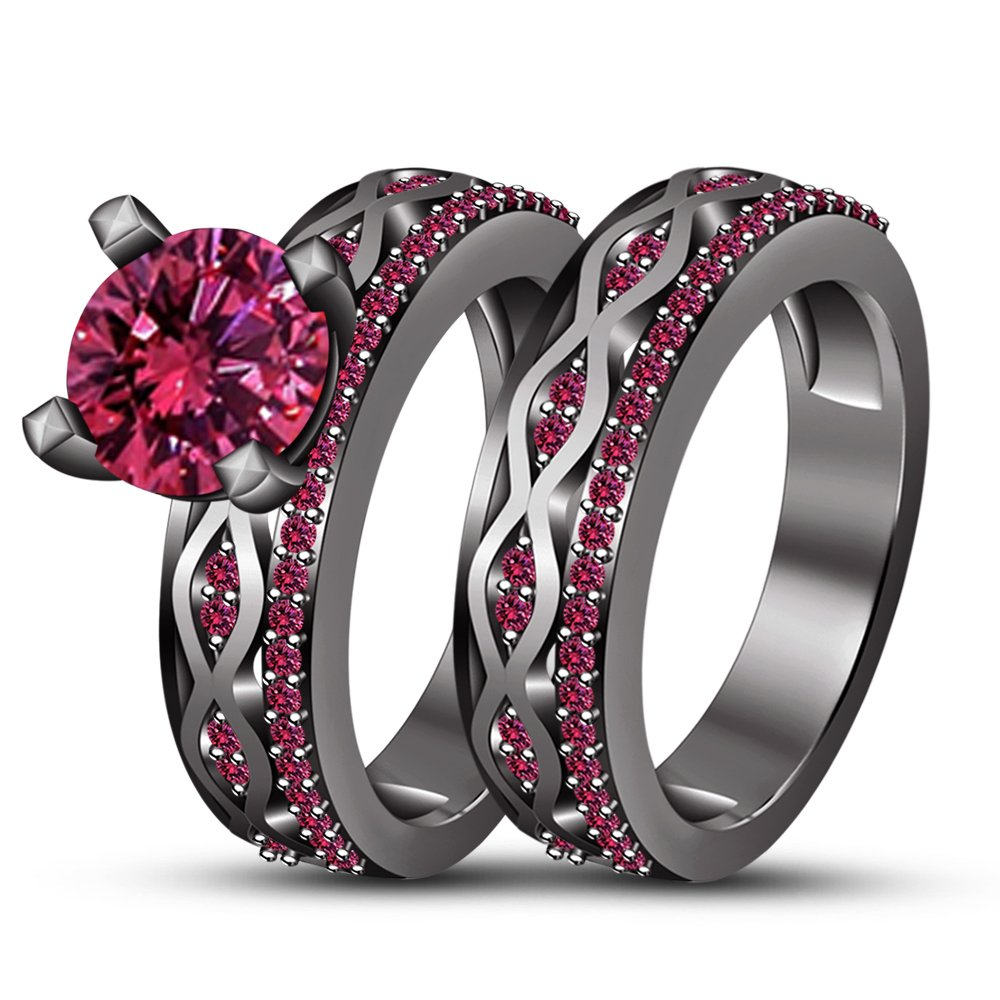 TVS-JEWELS Decorative Pink Sapphire Stone Black Rhodium Plated 925 Silver Bridal Wedding Ring Set (10.25)