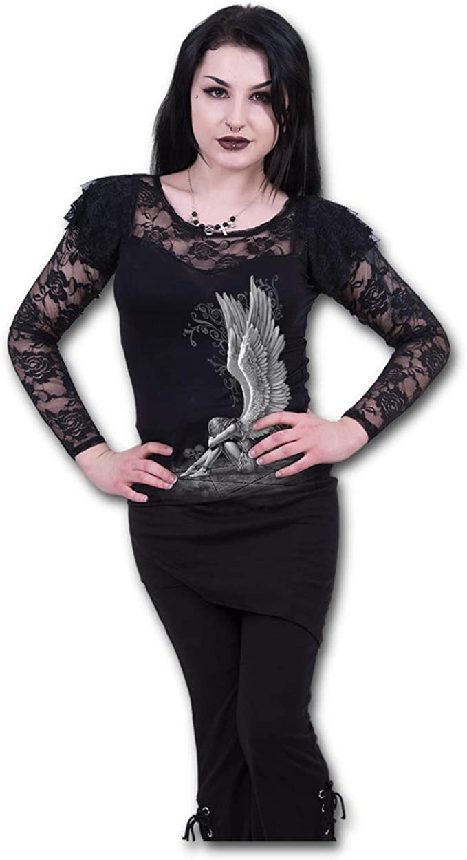 Spiral Direct Waisted Corset-Shoulder Lace Top Black Maglia a Maniche Lunghe Donna
