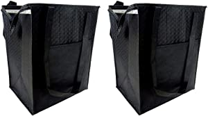Cooler Thermal Tote Bag - Grocery Shopping Tote - Tote Bag for Hot and Cold Reusable Shopping Catering Refrigerated and Frozen Food Transport Delivery, Cold Foods, Travel, Picnic - Black - Lot of 2.