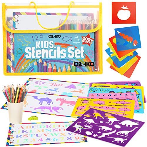 סט צורות לצביעה והעתקה כולל עפרונות