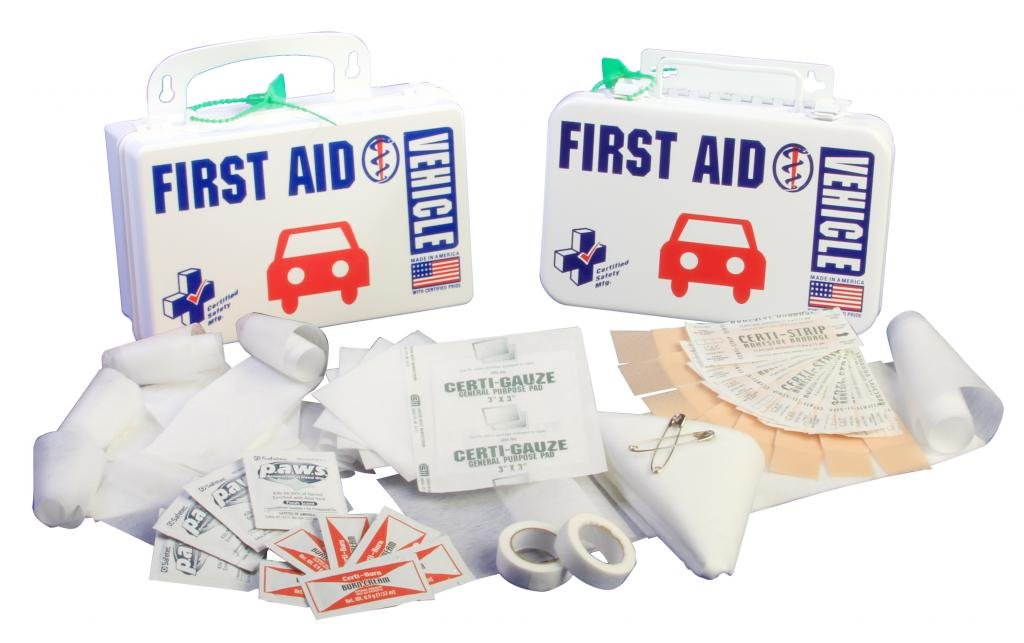 Certified Safety K201-048 10PW Vehicle First Aid Kit in Poly White