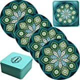LogHog Ceramic Coaster Set of 4, Glass Cup Holder Coffee Mug Place Mats Absorbent Stone Coasters for Drinks (Bohemia Style 2)