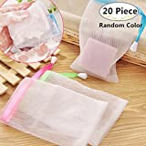 20 Pack Mesh Soap Saver Pouch, Magnoloran Double Layer Exfoliating Mesh Soap Saver Pouch Bubble Foam Net Handmade Soap Mesh Bag Body Facial Cleaning Tool