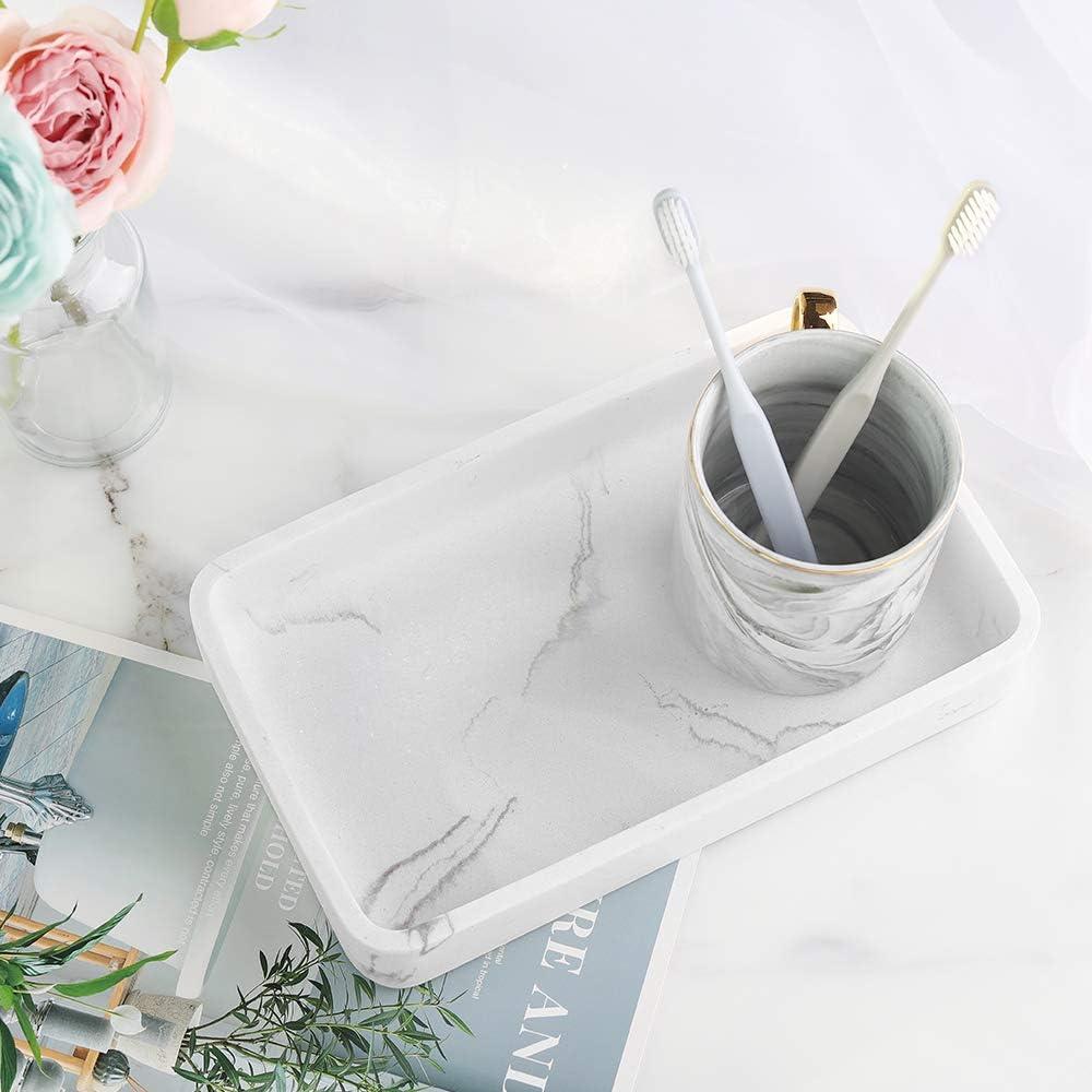 M/ármol Blanco Planta para Joyer/ía Sal/ón 26 X 16 X 4cm Luxspire Bandeja Rectangular Antideslizante de Resina Plato Organizador de Almacenamiento para Velas Jab/ón Hogar Toalla Cuarto de Ba/ño