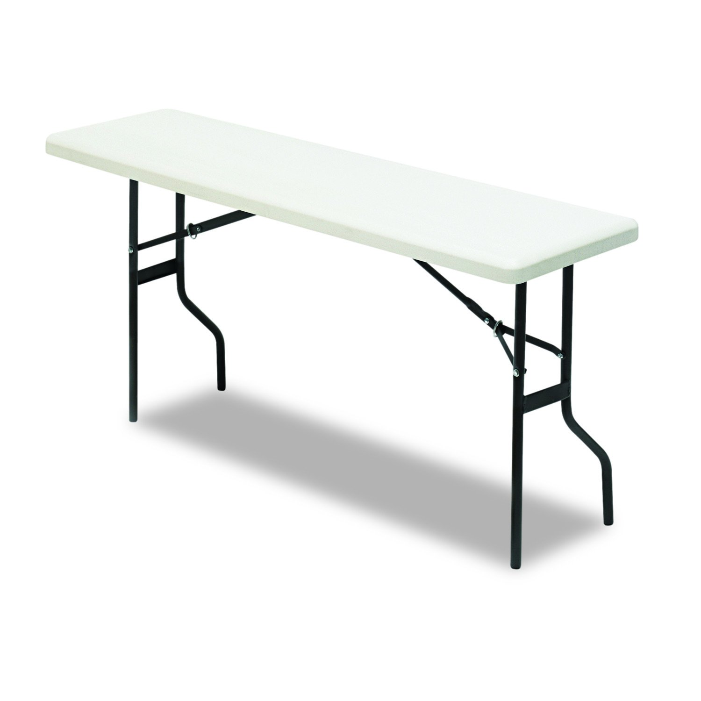 Iceberg ICE65353 IndestrucTable TOO 1200 Series Steel Legs Plastic Folding Table, 250 lbs Capacity, 60'' Length x 18'' Width x 29'' Height, Platinum