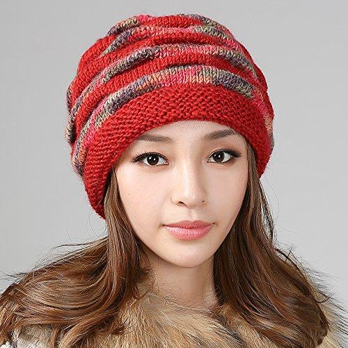(JINGB-hat Cap Winter Middle-Aged hat Ladies Wool hat Old hat Female Winter Velvet (Color :)