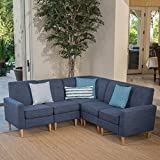 Cheap Great Deal Furniture Samuel Mid Century Modern 5 Piece Dark Blue Fabric Sectional Sofa Set