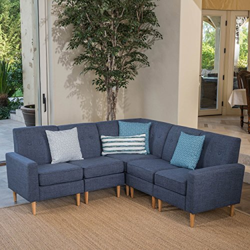 Great Deal Furniture Samuel Mid Century Modern 5 Piece Dark Blue Fabric Sectional Sofa Set