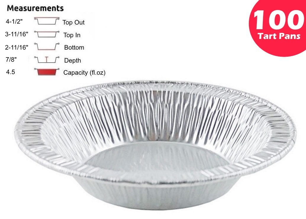 Pactogo 4 1/2'' Foil Tart Pan 7/8'' Deep - Mini Baking Pie Tins (Pack of 100)