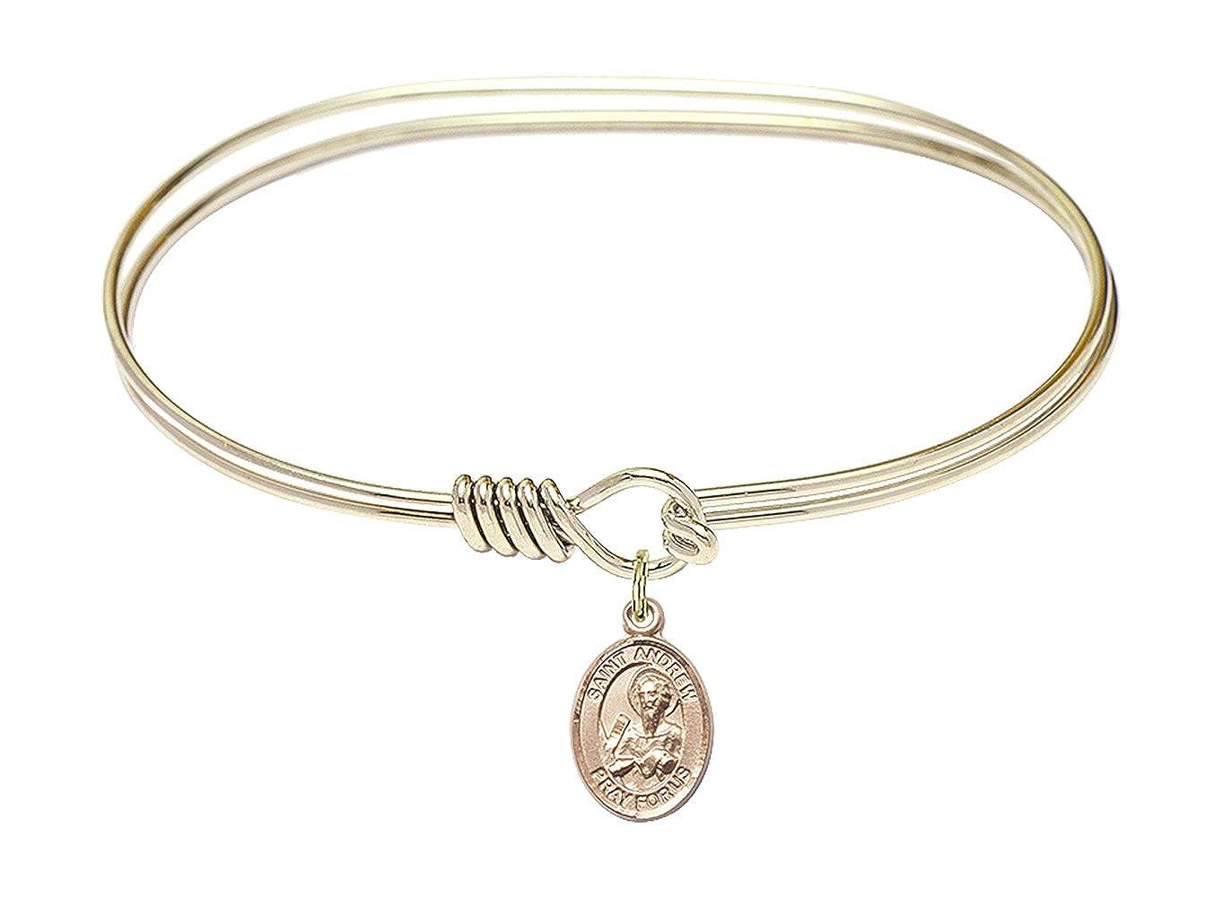 DiamondJewelryNY Eye Hook Bangle Bracelet with a St Andrew The Apostle Charm.