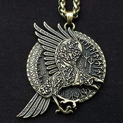 Collar De Cuervo Mítico Nórdico Colgante De Pájaro Redondo Encanto ...