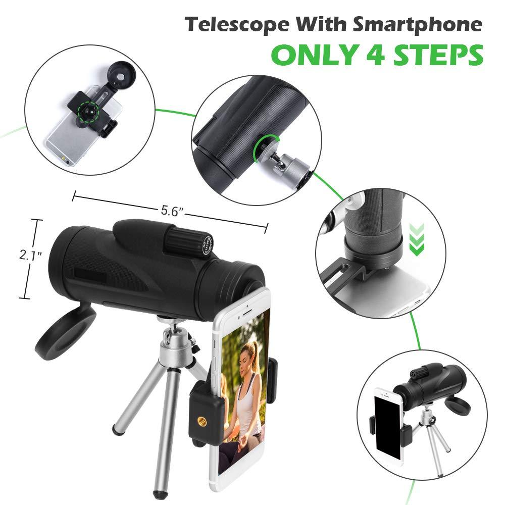 Monocular Telescope, 12X50 HD High Power Prism Monocular with Smartphone Mount Adaptor Tripod Waterproof Fog-Proof Shockproof Scope BAK4 Prism FMC for Outdoor Bird Watching Camping Hiking (mode1)