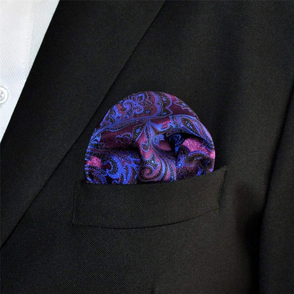 SHLAX/&WING Mens Pocket Square Purple Geomitric Handkerchieves Silk Hanky
