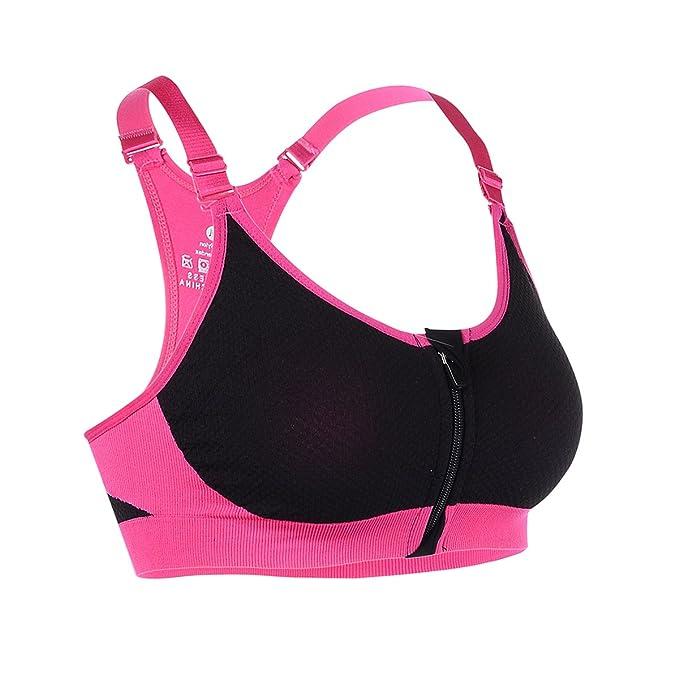 sujetador deportivo con tirantes ajustables de color rosa neón