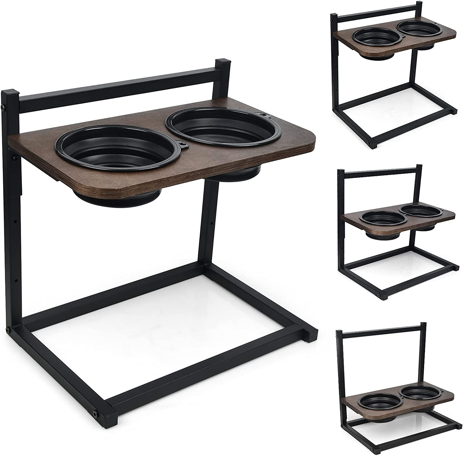 Emfogo Dog Cat Bowls Raised Dog Bowl Stand Feeder Adjustable Elevated 3 Heights5in 9in 13in with Double Collapsible Travel Bowls Raised Feeder for Small to Large Dogs and Cats 16.5x16 inch