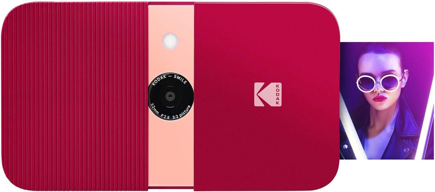 KODAK Smile Cámara digital de impresión instantánea – Cámara de 10MP que abre al deslizarse c/impresora 2x3 ZINK, Pantalla, Enfoque fijo, Flash automático y edición de fotos – Rojo